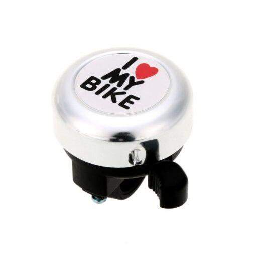 Buzina Campainha Trim-Trim I Love My Bike Bicicleta - Prata