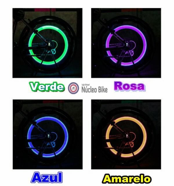 Válvulas Pneu Sabre Luz Carro Moto Bike Led nas Cores Verde, Rosa, Azul e Amarelo