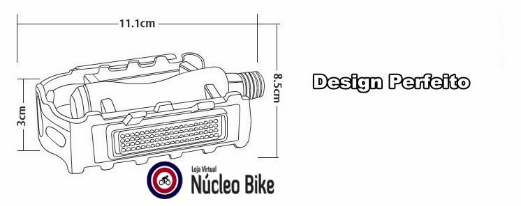 Pedal West Bike Alumínio Bicicleta Preto com Refletor